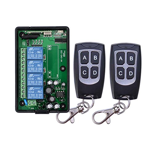 Radio Receiver+Waterproof remote control 4-Channel Frequency 433MHz 110V 220VAC Remote Control Wireless System Learning Code Connection Circuitry Radio Switch System Radio Remote Control Relay Output by Lejin