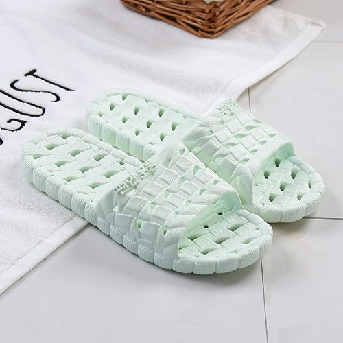 Green and Slip Men's Exposed Indoor Bottom Non fankou Home Slippers There Couples Cyan Female Cold Soft Baths 37 Slippers Shoes Summer Striped 38 FYnfBz6