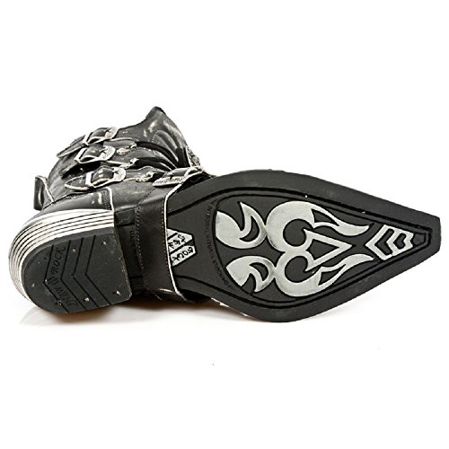 New Rock Men's Leather Black Stylish Boots Dallas M.7993-S3 Black Xjeg2zsyx