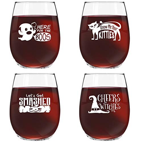 Halloween Party Drinking Glasses (Funny Halloween Wine Glass Set of 4- Novelty Glasses w/Cute Sayings- 15 oz. Stemless Wine Glasses for Your Halloween Party- Here for the Boos, Show Me Your Kitties, Let's Get)