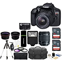 Canon EOS Rebel T6 18MP Wi-Fi DSLR Camera with 18-55mm IS II Lens + SanDisk 32GB & 16GB Card + Wide Angle Lens + Telephoto Lens + Flash + Grip + Tripod - 48GB Deluxe Accessories Bundle Basic Intro Review Image