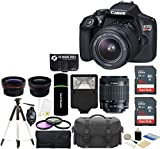Canon EOS Rebel T6 18MP Wi-Fi DSLR Camera with 18-55mm IS II Lens + SanDisk 32GB & 16GB Card + Wide Angle Lens + Telephoto Lens + Flash + Grip + Tripod - 48GB Deluxe Accessories Bundle