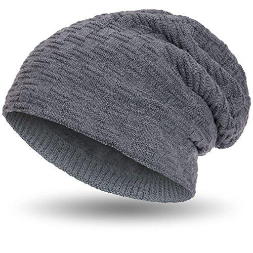 Compagno warm gefütterte Beanie Wintermütze sportlich-elegantes Flechtmuster mit weichem Fleece-Futter Mütze, Farbe:Grau