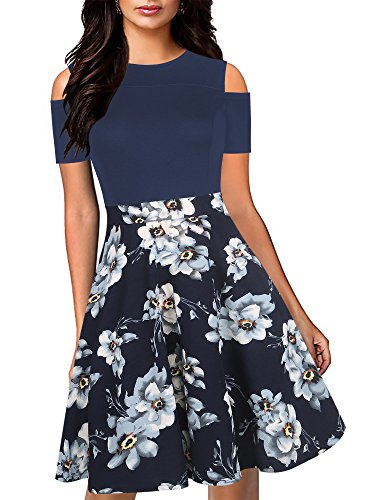 oxiuly Women's Casual Pockets Floral Flare Patchwork Party Cocktail Swing Midi Dress OX266 (M, Navy - Cocktail Patchwork