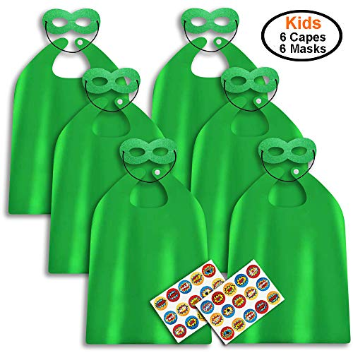 ADJOY Superhero Capes and Masks for Kids Birthday Party - DIY Dress Up Costumes - 6 Sets Pack (Green)]()