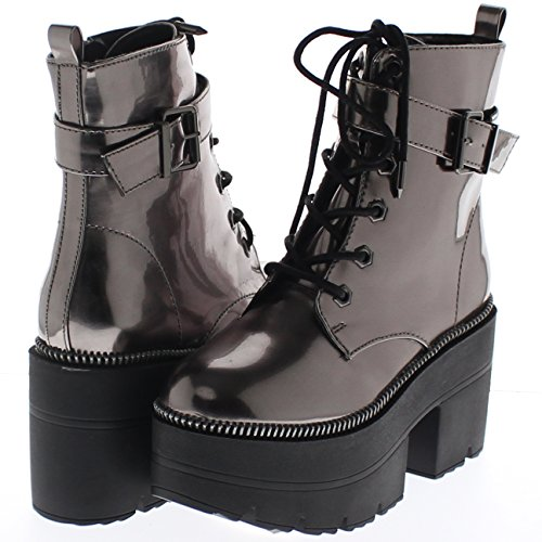 Shoe Republic Metallic Reflective Chunky Platform Boots Harrison (Pewter 9)