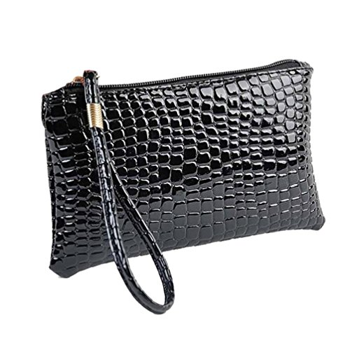 Bag Clutch Bag Black Leather Purse Coin Crocodile Women Handbag Limsea wYqTUI5