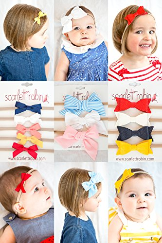 12 Baby Girl Hair Bows on Nylon Headbands | Cutie Pie Variety Pack | By Scarlett Robin ()