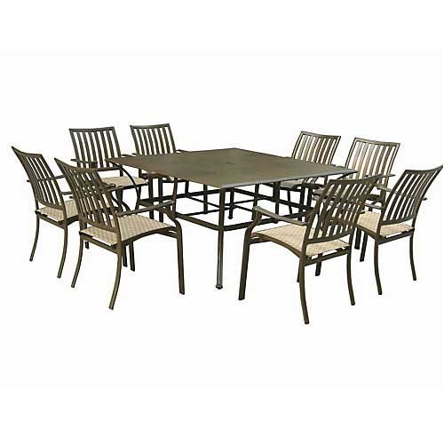 Panama Jack Outdoor Island Breeze 9-Piece Slatted Dining Group Set, Includes 8 Armchairs and 60-Inch Aluminum Slatted Table