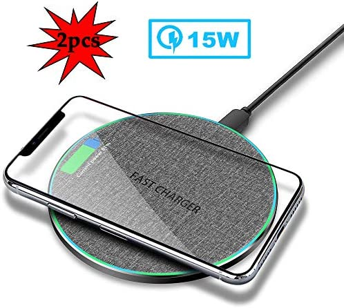 ワイヤレス充電器15W、高速ワイヤレスパッド充電、互換性のあるiPhone 11/11プロ/ 11プロMAX / XR/XS/X / 8月8日プラス/サムスンS10 / S9 / S9 + / S8 / S8 + / S7 /注9とより2パック