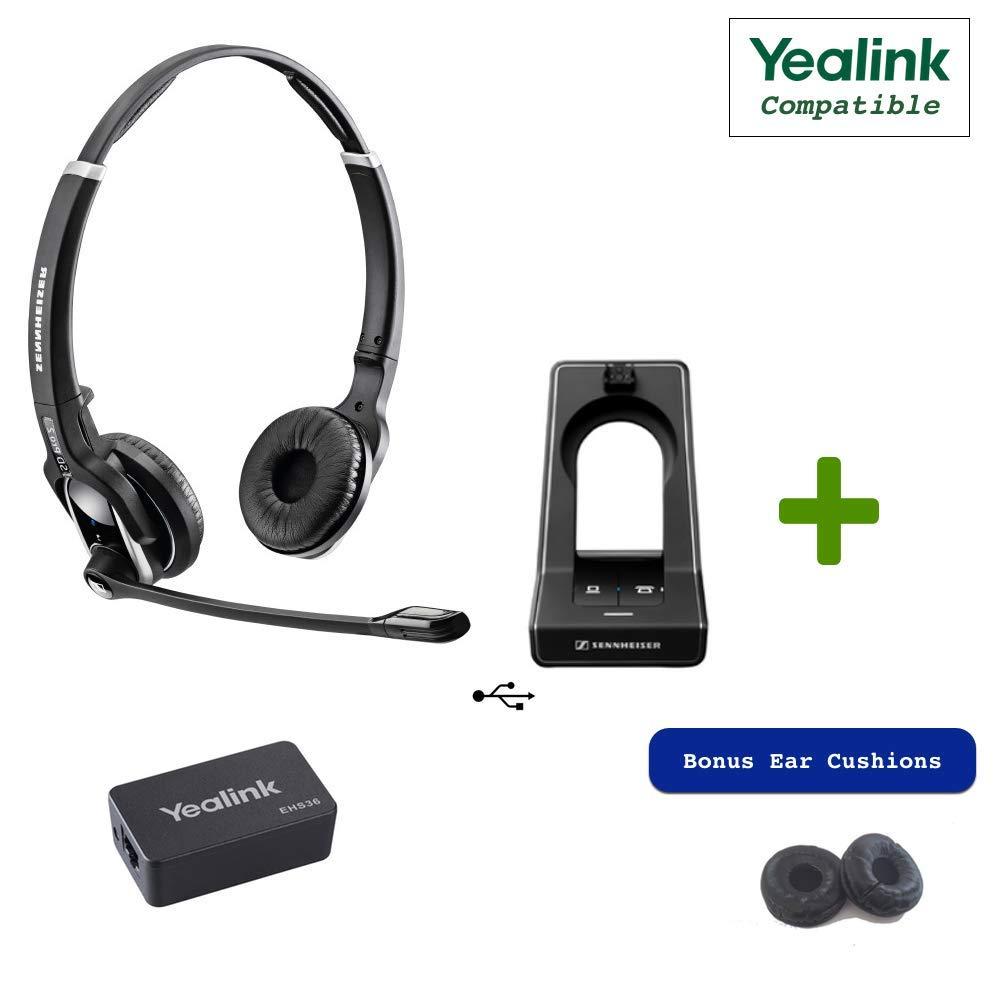 Sennheiser SD PRO2 - Deskphone Cordless Headset with Yealink EHS Adapter | Compatible Yealink Models: T48G, T46G, T42G, T41P, T38G, T28P, T26P | Bonus Cushions