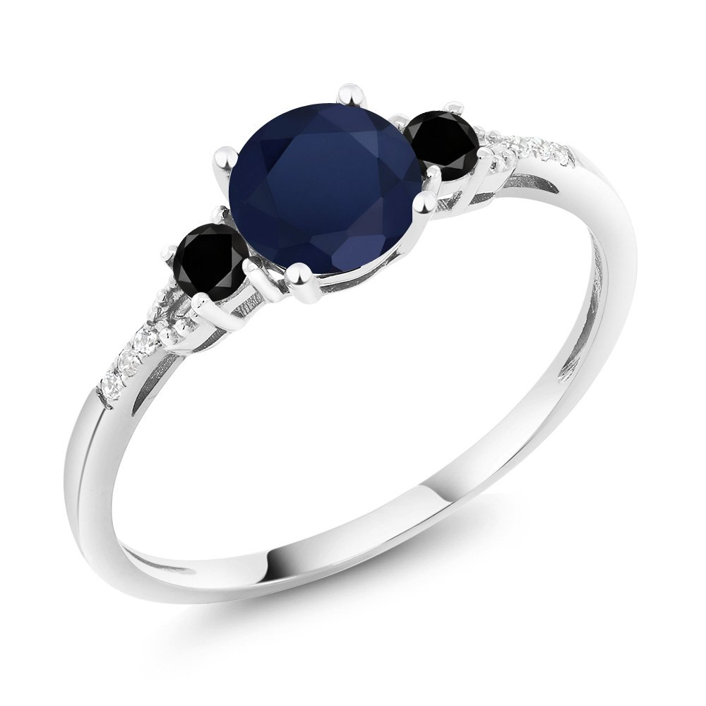 10K White Gold Diamond Accent Three-stone Engagement Ring set with Blue Sapphire Black Diamond 1.18 cttw