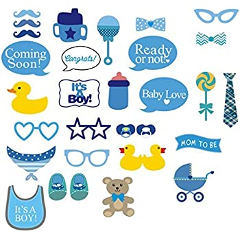 NYKKOLA Itu0027s A Boy Baby Shower Party Photo Booth Props Kits On Sticks Set  Of 31pcs