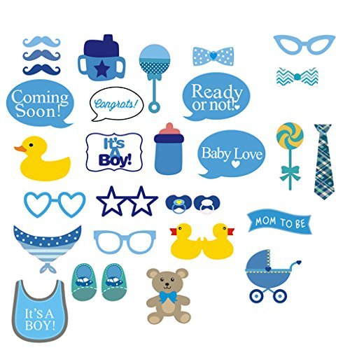 Photo Booth Props NYKKOLA It's A Boy Baby Shower Party Photo Booth Props Kits on Sticks Set of (Boy Baby Shower)