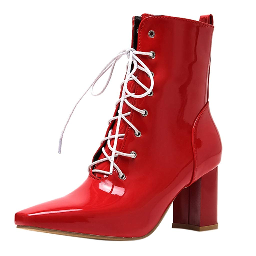Ladies Fashion Square Toe Medium Chunky Heel Short Bootie Womens Lace-Up Ankle Boots Casual Faux Leather Boot Shoes with Side Zip