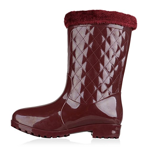 Rockige Damen Stiefeletten Gummistiefel Profilsohle Wasserdichte Boots Stiefel Gumistiefeletten Lack Damenschuhe Nieten Flandell Dunkelrot Lack