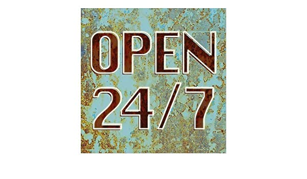 5-Pack 24x24 CGSignLab Open 24//7 Stripes Blue Window Cling