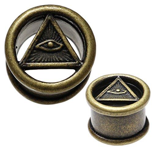 Flare Single Tunnels Flesh (Antique Brass All Seeing Eye Single Flare Flesh Tunnel Ear Plug Stretching Gauge 10mm)