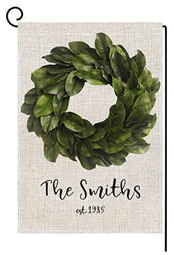 Personalized Last Name Garden Flag - Custom Welcome Magnolia Leaves Wreath Small Burlap Yard Flag Vertical Double Sided 12.5 x 18 Inch Summer Fall Outdoor Decor -