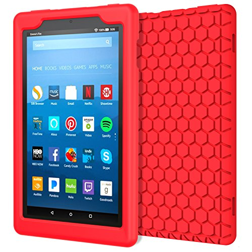 MoKo Case for All-New Amazon Fire HD 8 Tablet (7th Generation, 2017 Release Only) - [Honey Comb Series] Light Weight Shock Proof Soft Silicone Back Cover [Kids Friendly] for Fire HD 8, RED by MoKo