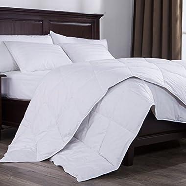 Puredown Lightweight Down Comforter Duvet Insert 100% Cotton 550 Fill Power, Full/Queen Size, White