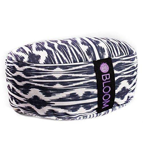 Palm Bolster Pillow - BLOOM Zafu Meditation Pillow Cushion, Round Yoga Bolster - Adjustable Buckwheat Hull Fill, Premium Cotton, Removable Washable Case, Carry Handle, Zipper (Black Ikat)