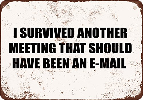 9 X 12 Metal Sign   I Survived Another Meeting That Should Have Been An E Mail   Vintage Look