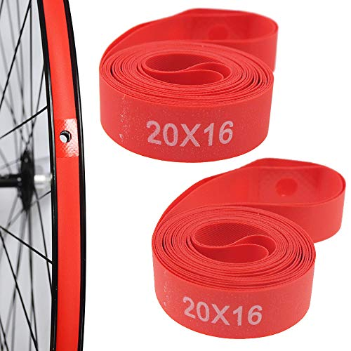 ONGHSD (Nylon,Not PVC) 2 Pack Bike Tire Liner, Anti-Scratched Bike Rim Strip Red Bicycle Rim Tape 700c 29 27.5 26 20 14 Inch for Road Bike MTB Mountain Bike Tube Protector Liner