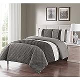 King Size Comforter Sets King Size Comforter Set in Grey Luxe Geometric Pattern 3 Pc Set w/ 2 Shams
