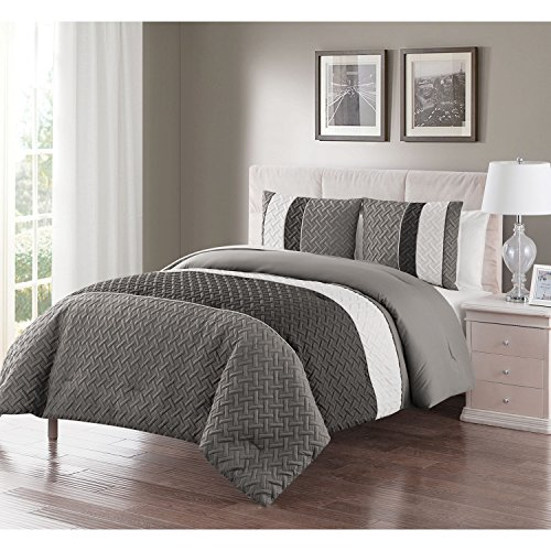 Twin XL Size Comforter Set in Grey Luxe Geometric Pattern 2 Pc Set w/ - Gardens California Victoria