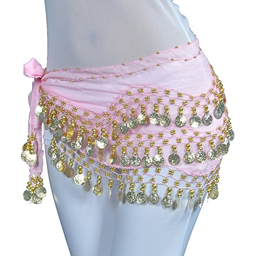 Lilyy Chiffon Dangling Gold Coins Belly Dance Hip Skirt Scarf Wrap Belt (H-Pink, Gold Coin)