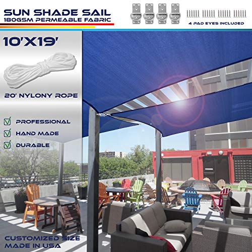 Windscreen4less 10 x 19 Rectangle Sun Shade Sail – Solid Blue Durable UV Shelter Canopy for Patio Outdoor Backyard with Free 4 Pad Eyes – Custom Size