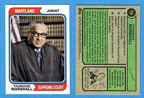 2012 Topps Heritage Football - Thurgood Marshall 2009 Topps American Heritage**Jurist-Maryland Supreme Court** (1974 Topps Baseball Design)