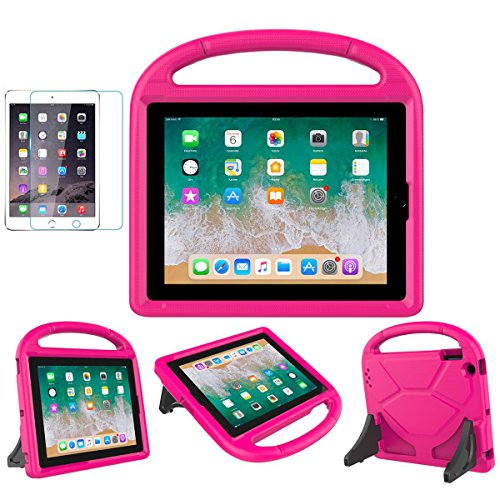 iPad 2/3/4 Kid-Proof Case - SUPLIK Shockproof Protective Lightweight Handle Bumper Stand Cover with Screen Protector for Apple iPad 2nd,3rd,4th Generation 9.7 inch Tablet, Pink