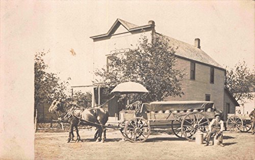 Real Photo Postcard Horse Drawn Milk Delivery Wagon Milk Man with (Drawn Delivery Wagon)