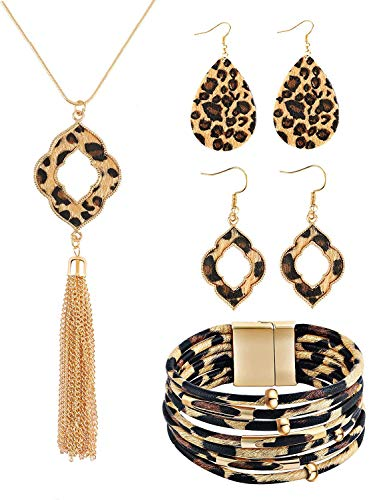AgeXinjo 3-4 Pieces Leopard Jewelry Set Leopard Print Teardrop Earring Leopard Leather Bracelet Acrylic Moon Earrings…