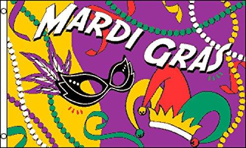 Mardi Gras Party Flag 3x5ft Poly -
