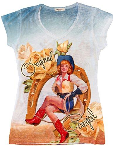 (Sweet Gisele Vintage Retro Cowgirl Inspired Bling-Embellished Short-Sleeved T-Shirt multicolored Large)