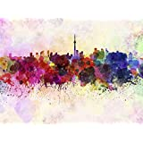 PAINTING ILLUSTRATION CITYSCAPE PAINT SPLASH SKYLINE TORONTO ART PRINT MP5290A