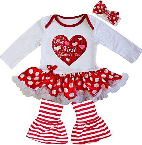 Kirei Sui Baby My First Valentine's Day Polka Dots Bodysuit Pants Medium (Valentine Dots)