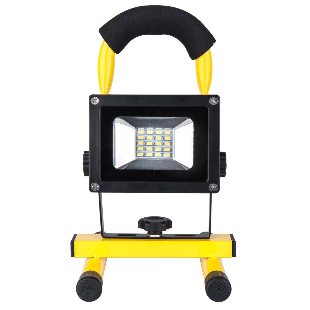 Baustrahler LED Arbeitsleuchte akku Lampe - ROS10G(Upgrade) 10W Akku Strahler 750 Lumen 100% helligkeit Garantie, 2 Dimmstufen bis 8 Stunden Leuchtdauer, IP65 Wasserdicht, Lichtfarbe kaltweiß Roilois