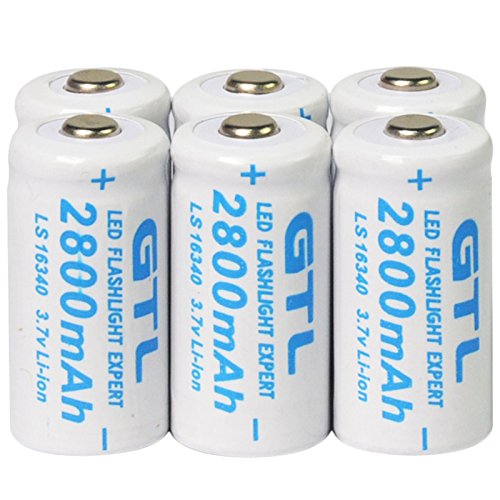 Battery cell 2800mah rechargeable for toys 6pcs cr123a 123a cr123 16340 3.7v