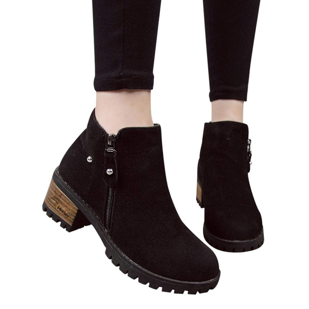 vermers Clearance Sale Women Boots - Women Rivets Martin Boots Suede Ankle Boots High Heeled Zipper Shoes(US:6.5, Black)