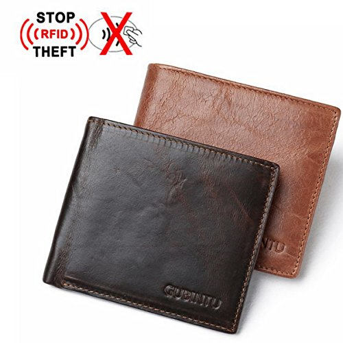 Genuine Leather RFID Blocking Wallet Purse Bifold Men Credit Card Holder Pocket Wallet Anti Scan ID Window Slim Lightweight (Coffee) by Besttradestore