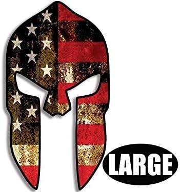 American Vinyl Casco Espartano Grande en Forma de Etiqueta engomada de la Bandera USA: Amazon.es: Coche y moto