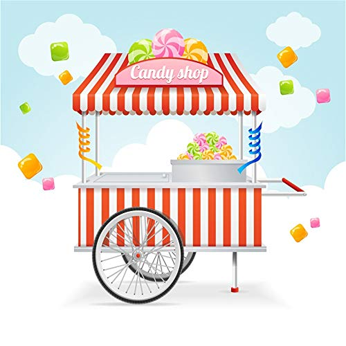LFEEY 6x6ft Candy Shop Photo Backdrop Red Stripes Sweets Candies Lollipop Cart Photography Background Baby Shower Kids Birthday Party Events Decoration Wallpaper Photo Studio Props ()