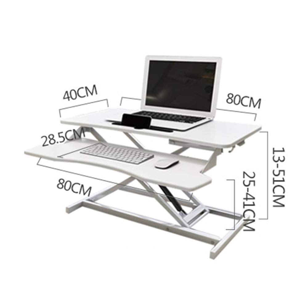 LIULIFE Laptop Stand for Desk Sit Stand Height Adjustable Desk Computer Workstation Standing Desk Converter with Keyboard Tray,White-WithKeyboardBoard by LIULIFE (Image #7)