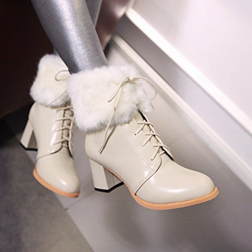 Women up Winter Latasa Fall Lace Chunky Ankle High Boots Beige Fashion HZqOx