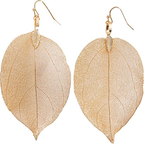 Humble Chic Natural Leaf Earrings - Lightweight Filigree Long Drop Dangle Earrings for Women, Large Gold-Tone, 2 to 3.5 inches -