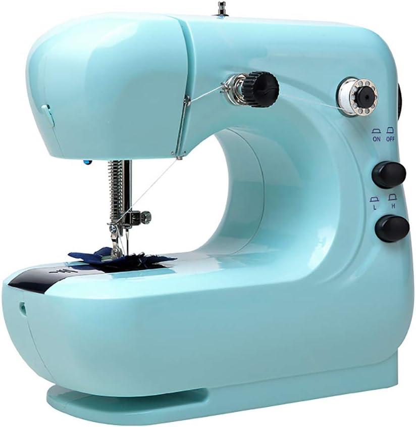 Mini Máquina De Coser, Portable 2 Velocidad De Bordado Costura Heavy Duty Máquina Que Acolcha con El Pedal del Pie Fácil De Usar Eléctrica Elaboración De La Reparación De La Máquina,Azul